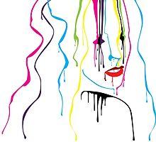 Woman Paint Drips Portrait by pixelfreak