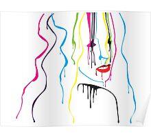 Woman Paint Drips Portrait Poster