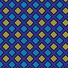 Retro blue and yellow diamond pattern by nadil