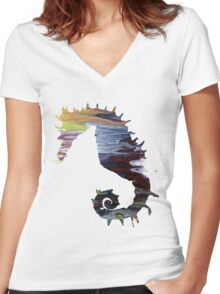 Abstract colorful seahorse painting Women's Fitted V-Neck T-Shirt