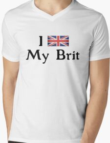 I <3 My Brit (black text) Mens V-Neck T-Shirt