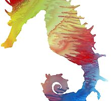 Abstract colorful seahorse painting by MordaxFurritus
