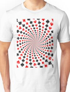 Poker / Blackjack Card Suits Spiral Unisex T-Shirt