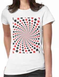 Poker / Blackjack Card Suits Spiral Womens Fitted T-Shirt
