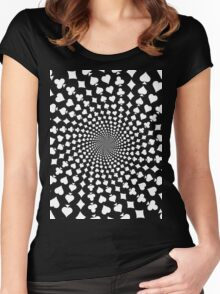 Poker / Blackjack Card Suits Spiral Women's Fitted Scoop T-Shirt