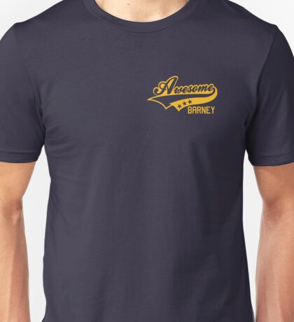 AWESOME BARNEY (yellow type) Unisex T-Shirt