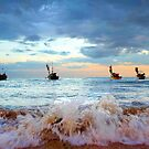 Fishing boat docking before storm by studioomg