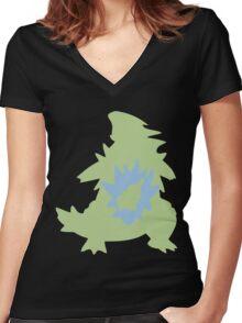PKMN Silhouette - Larvitar Family Women's Fitted V-Neck T-Shirt