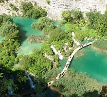 The view of the Plitvice lakes III. -  path with dry feet by Natas