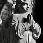 Praying angel greetings card - mono by Dave Lawrance