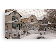 First snow storm of winter-one week after Sandy Canvas Print