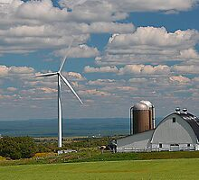 wind mill with farm Upstate New York by David Galson