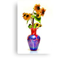 Sunflower on Art glass base-on white background Canvas Print