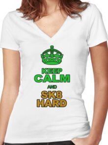 KEEP CLALM AND SK8 HARD Women's Fitted V-Neck T-Shirt