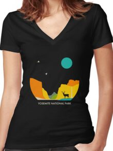 YOSEMITE NATIONAL PARK Women's Fitted V-Neck T-Shirt