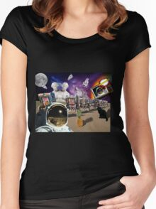 Astronaut Invaders In The Cadillac Desert Women's Fitted Scoop T-Shirt
