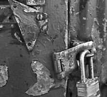 Padlocked 5 Black and White by marybedy
