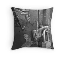 Padlocked 5 Black and White Throw Pillow