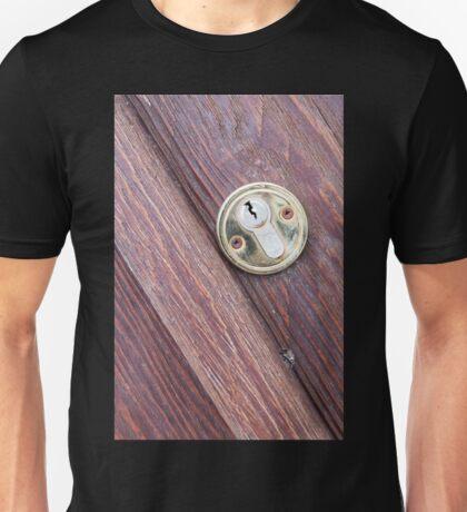 Wooden door with a keyhole brass Unisex T-Shirt