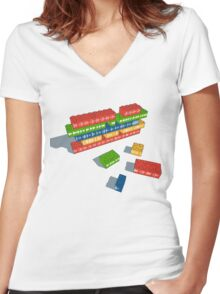 Playing with Music Women's Fitted V-Neck T-Shirt