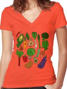 Happy Veggies Women's Fitted V-Neck T-Shirt