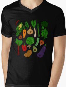 Happy Veggies Mens V-Neck T-Shirt