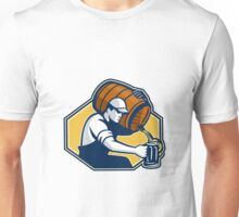 Bartender Worker Pouring Beer From Barrel To Mug Unisex T-Shirt
