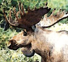 Impressionist Moose by Sharon Cummings