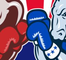 Democrat Donkey Republican Elephant Mascot Boxing  Sticker