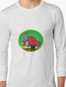 Lawn Mower Man Cartoon Oval  Long Sleeve T-Shirt