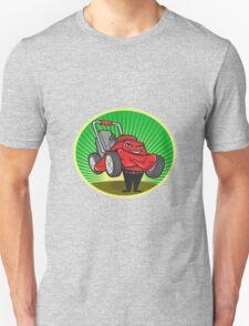 Lawn Mower Man Cartoon Oval  T-Shirt