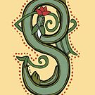 Celtic Oscar letter S (New Manuscript version) by Donna Huntriss