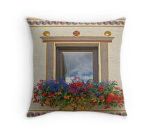 Flowerful Window. Throw Pillow