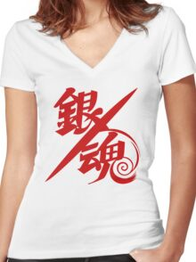 Gintama Red Logo Anime Women's Fitted V-Neck T-Shirt