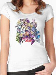 JoJo's Bizarre Adventure: Diamond Is Unbreakable Characters Women's Fitted Scoop T-Shirt