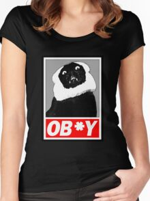 Ob*y breaded cat Women's Fitted Scoop T-Shirt