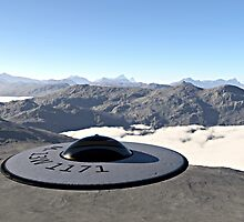 UFO flying disc landed on snow mountain by Linda  Schilling