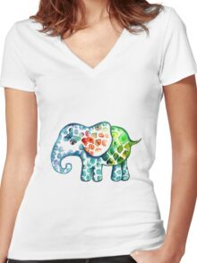 Rainbow Elephant Women's Fitted V-Neck T-Shirt