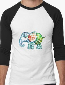 Rainbow Elephant Men's Baseball ¾ T-Shirt