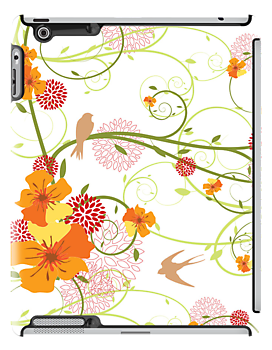 Yellow Hibiscus Swirls & Birds by fatfatin
