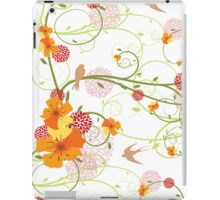 Yellow Hibiscus Swirls and Birds iPad Case/Skin