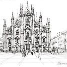 Duomo di Milano - schizzo by Luca Massone  disegni