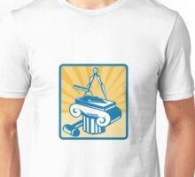 Masonry Trowel Compass Mallet and Column Retro  Unisex T-Shirt