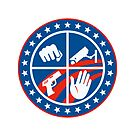 Security CCTV Camera Gun Fist Hand Circle by retrovectors