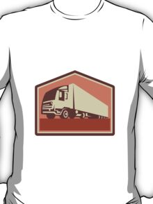 Container Truck and Trailer Flames Retro  T-Shirt