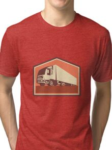 Container Truck and Trailer Flames Retro  Tri-blend T-Shirt