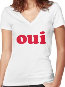 oui - red Women's Fitted V-Neck T-Shirt