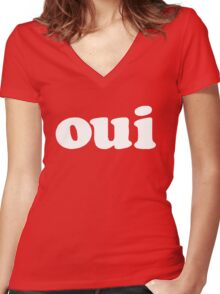 oui - white Women's Fitted V-Neck T-Shirt
