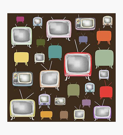 vintage television pattern Photographic Print