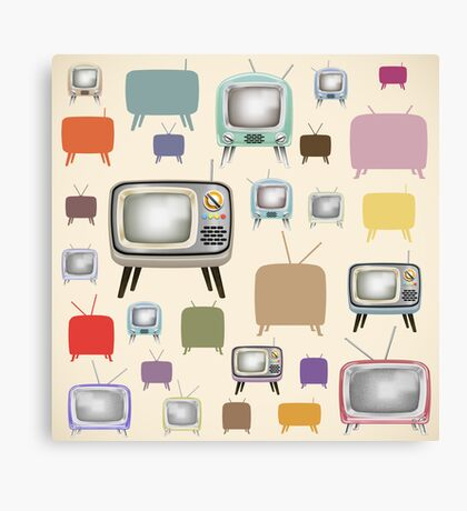 vintage television pattern Canvas Print